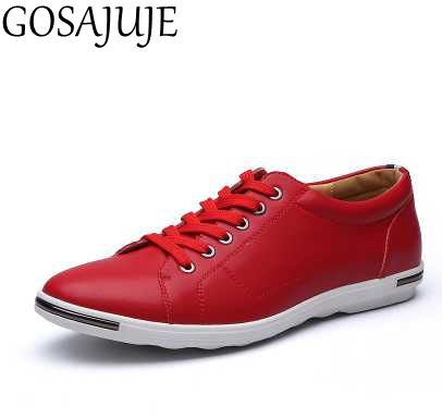 GOSAJUJE2017new spring flats men leather shoes european style casual shoes fashion breathable free shipping men large size 47 48