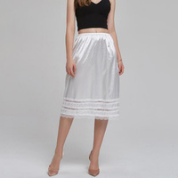Women Half Slips Underskirt Solid White Knee Length Slip Skirt Summer Underdress Intimates Sexy Lace Hem Petticoat Jupon Femme