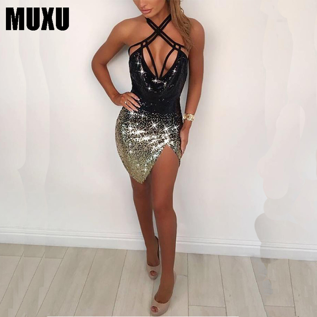 8d28593883 US $23.49 39% OFF|Aliexpress.com : Buy MUXU summer sexy patchwork sequin  dress glitter womens clothing jurk bodycon party dresses woman clothes ...