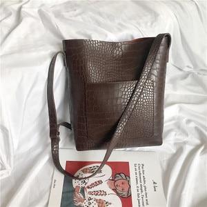 Image 4 - Vintage Fashion Female Tote bag New Quality PU Leather Womens Designer Handbag Alligator Bucket bag Shoulder Messenger Bag