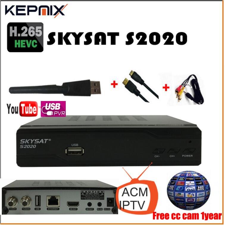 skysat s2020+wifi adapter h.265+1 year ccam LAN port av support 3g wifi iptv satellite receiver youtube vs free sat v8 super
