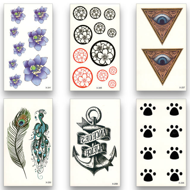 12pcs Fake Temporary waterproof Tattoo Water Transfer Disposable Flower bird anchor Stickers Beauty Sexy Cool Body Art X12ZH-12