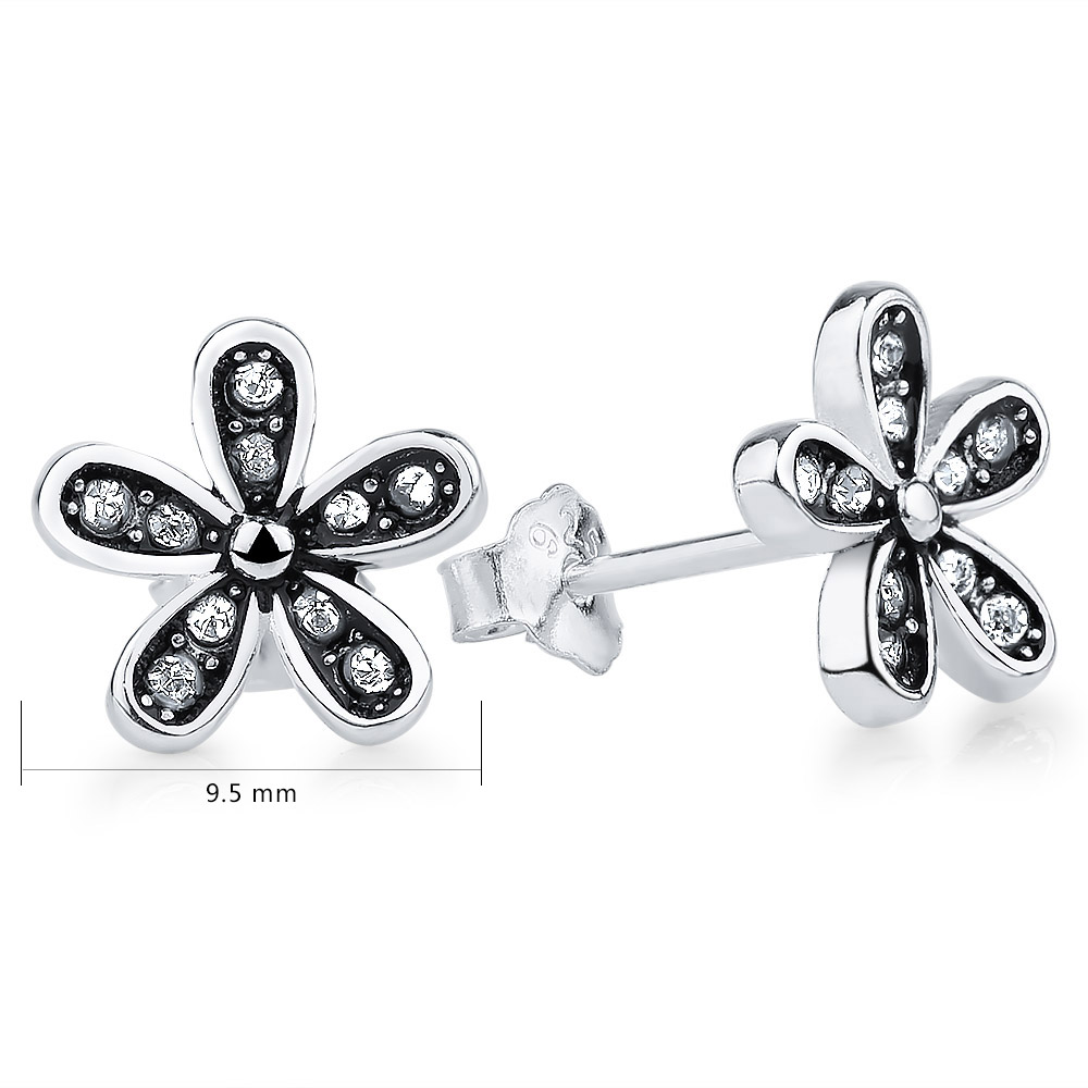 GAGAFEEL New Genuine 925 Sterling Silver Dazzling Daisy Stud Earrings With Clear CZ Crystal Jewelry Special Store