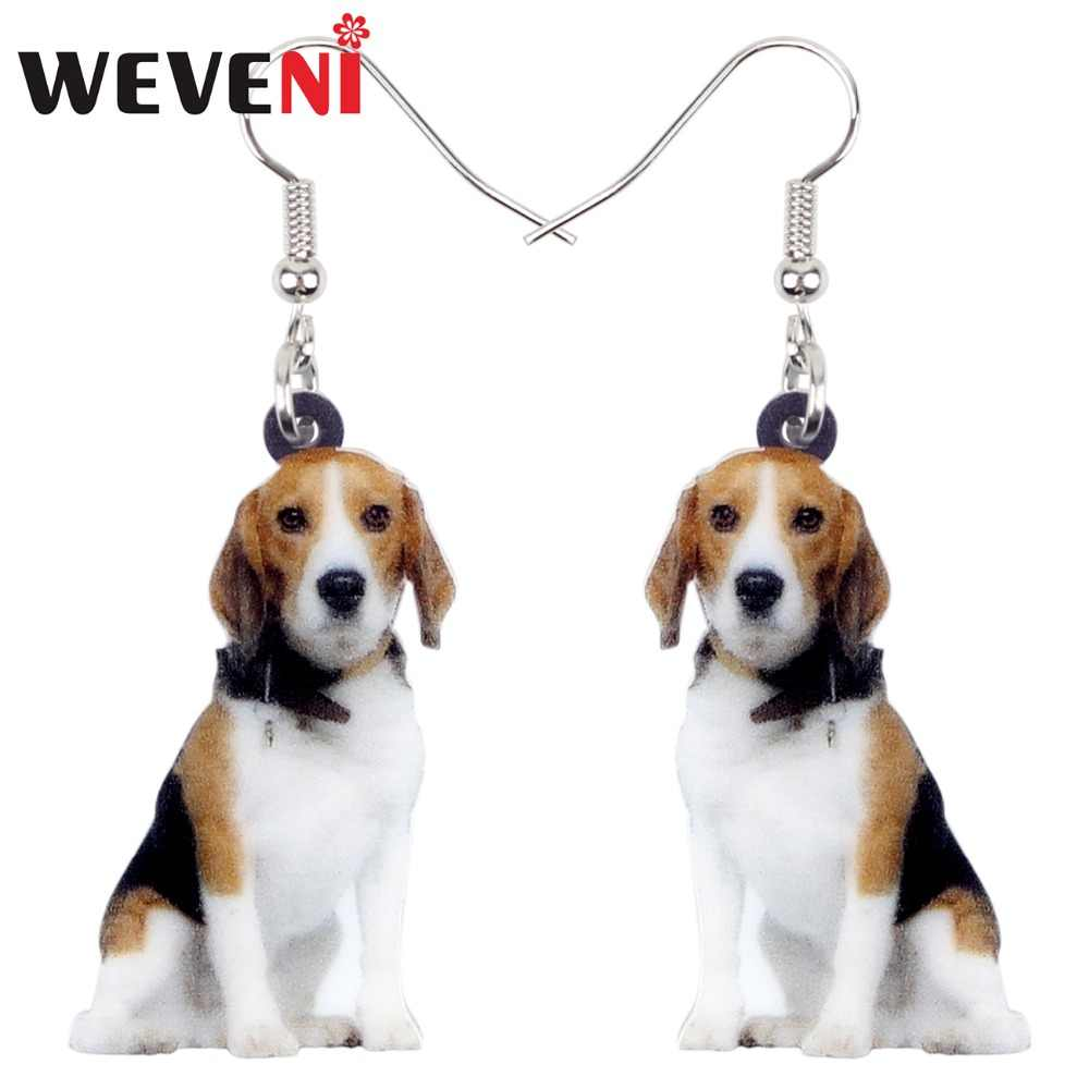 WEVENI Statement Acrylic Sitting Beagle Dog Earrings Dangle Drop Cartoon Animal Jewelry For Women Girls Pet Lovers Accessories