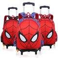 Рюкзак на колесиках для мальчиков с изображением Человека-паука, детская школьная сумка