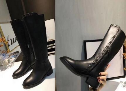 She Dian 2018 autumn and winter women boots genuine leather zips round toe long boots sewing