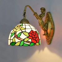 Rose Wall Lamps European Style Creataive Stained Glass Wall Light Corridor Classic Bedroom Wall Sconce Light Fixtures