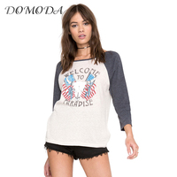 DOMODA Women T-shirt Casual Color Block Loose Printed Pullover Female Street Style Long Sleeve Crew Neck Soft Casual Tees Ladies