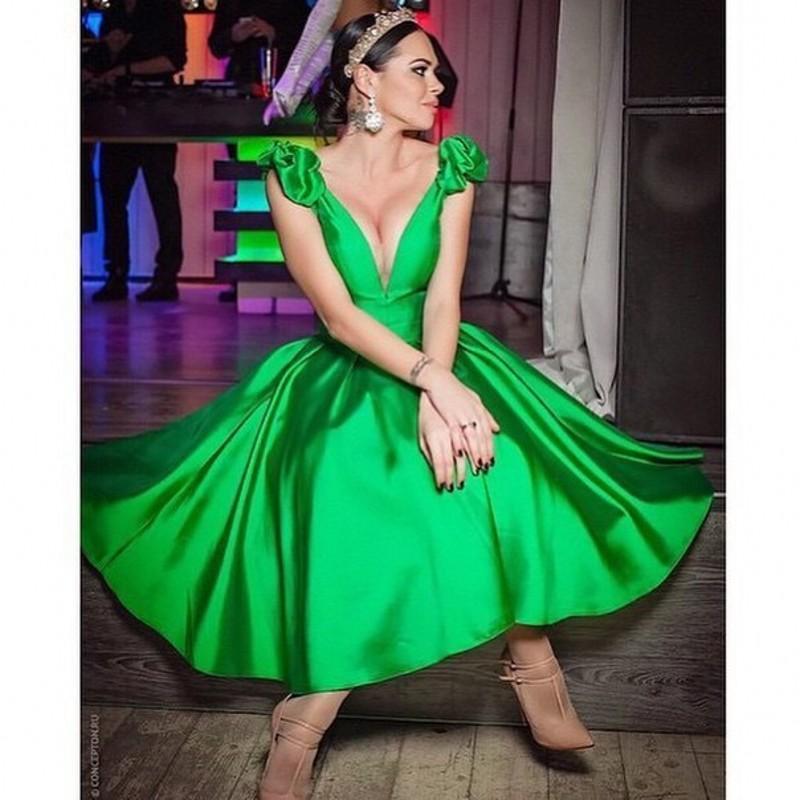 Bright Green Sexy V Neck A Line Ruffle Cap Sleeve Prom ...