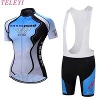 Summer Pro Women Cycling Jersey Shorts Set Sleeve Short Sleeve Girl Bike Clothing Bike Cycling Cycle Cloth Blue White XS 4XL