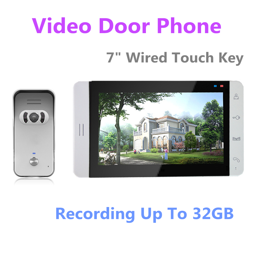 FREE SHIPPING 7 Inch Night Vision Digital Video Door Phone Intercom System with TFT LCD Touch Pad Color Monitor\Outdoor Camera 7inch video door phone intercom system for 5apartment tft lcd screen 5 flat indoor monitor with night vision cmos outdoor camera