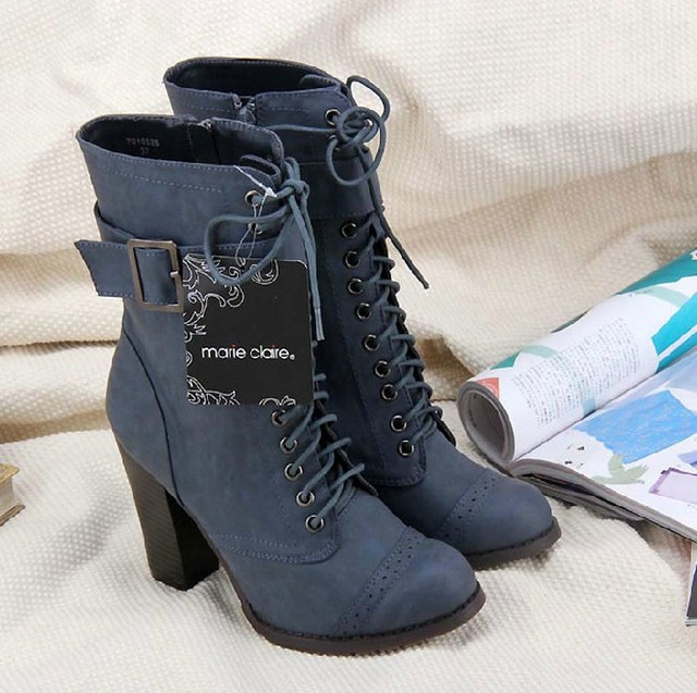 Freeshipping Big high-heeled martin boots, pedicure medium-leg boots, thick heel strap  boots , skateboarding shoe