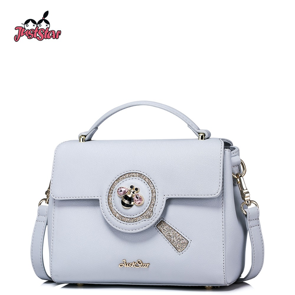 ФОТО JUST STAR Women's PU Leather Handbags Ladies Fashion Fresh Color Tote Bag Female Bee Small Leisure Flap Messenger Bags JZ4272