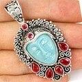 Gorgeous Goddess Turquoise Color Face, Raspberry Rhodolite Garnet   Silver Pendant 58x28mm