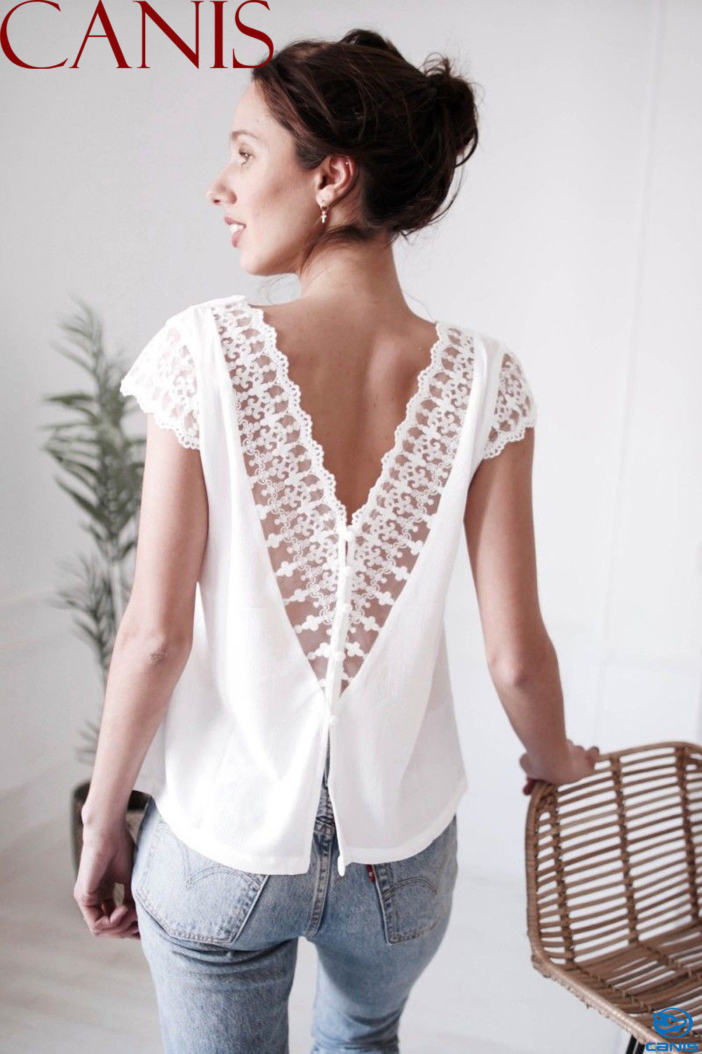 Women Fringe Summer Loose Top Summer Ladies Short Sleeve Blouse Casual Backless Tops V neck White Blouses in Blouses amp Shirts from Women 39 s Clothing