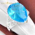 Fashion Promotion Jewelry Drop Blue Created Topaz Silver Plated Wedding Rings Russia USA Holiday Gift Rings Australia Rings