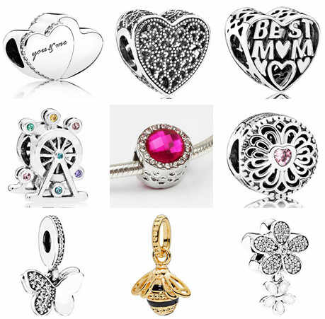 Maxi Cute Small Colorful Pendant Beads Crystal Butterfly Hearts Flowers Beads Fit Original Pandora Charms Bracelets DIY Berloque
