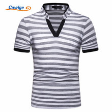 Covrlge New Designer Fashion Brand Male Striped Polo Shirt Short-Sleeve Slim Fit Men Shirts Casual shirt Homme MTP120