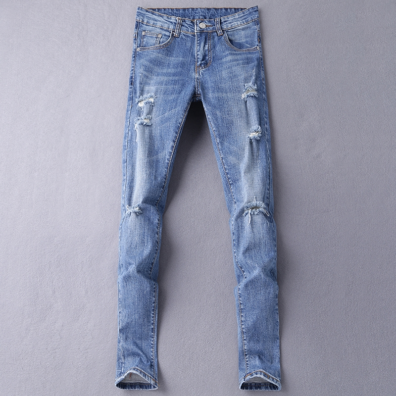 Jeans Men's Blue Slim Fit High Quality Hole Brand Youth Pop Male Fashion Denim Cotton Casual Trousers Pant Pencil Pant Gent Life jeans men s blue slim fit fashion denim pencil pant high quality hole brand youth pop male cotton casual trousers pant gent life