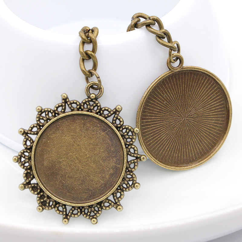 25 MM Keychain do Anel Chave de Bronze Antigo Do Vintage Feitos À Mão Pingente Mandala Art Imagem Cúpula Jóias Mulheres Presente 2017