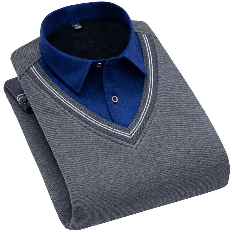 Brand Mens pullover Shirt Male social Men sweatshirts with fleece super warm thick winter shirt Plus Size