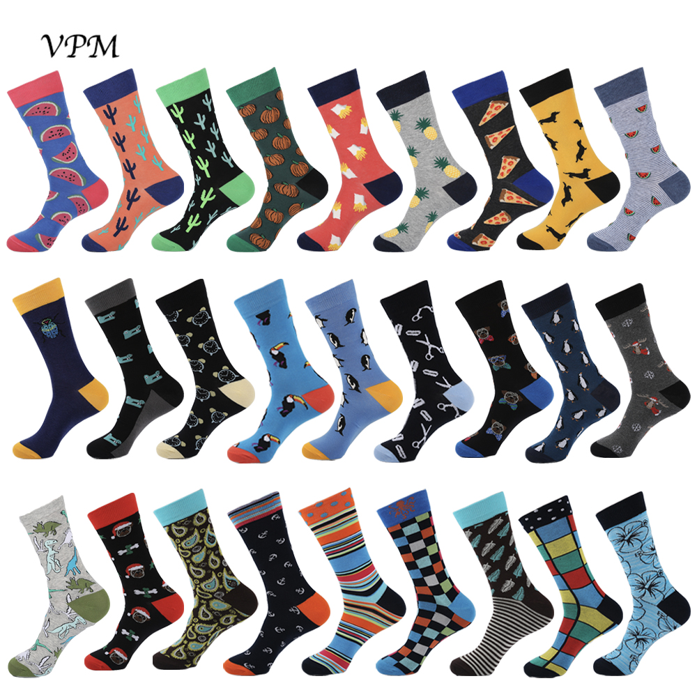 VPM Funny Cotton Men's Socks Dinosaur Penguin Cactus Lattice Dog Warm Skate Harajuku Cool Happy Socks For Wedding Christmas Gift