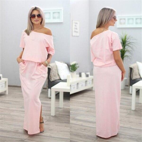 3da0d786398 2017 automne Boho Style femmes Maxi robe à manches courtes été plage robe  élégante dames robes de soirée femmes robes dans Robes de Mode Femme et ...