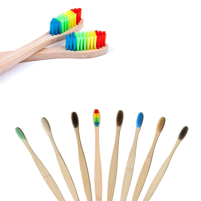 1pc Rainbow Toothbrushes Natural Bamboo Toothbrush Oral Hygiene Colorful Teeth Brushes Cheap Soft Bristle Head Toothbrush