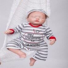 20 inch 50 cm Silicone baby reborn dolls, lifelike doll reborn Fashion Gray Striped clothes sleeping doll