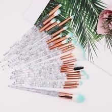 Набор кистей для макияжа в виде единорога, 20 шт., набор кистей для макияжа с кристаллами, теней для век, основы, пудры, румян, кистей для губ, косметические цветные инструменты для макияжа