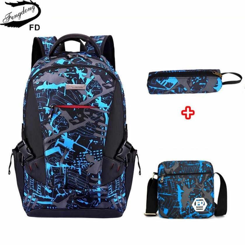 FengDong комплект из 3 предметов с сумкой, школьные сумки для мальчиков, Детский водонепроницаемый школьный рюкзак для мальчиков, студенческий рюкзак, школьная Ручка для детей, сумка-карандаш
