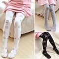 Menina meias de algodão Bordado flores dança floral Bonito das crianças Elástico Na Cintura Apertada meia-calça quente Malha Meia-calça
