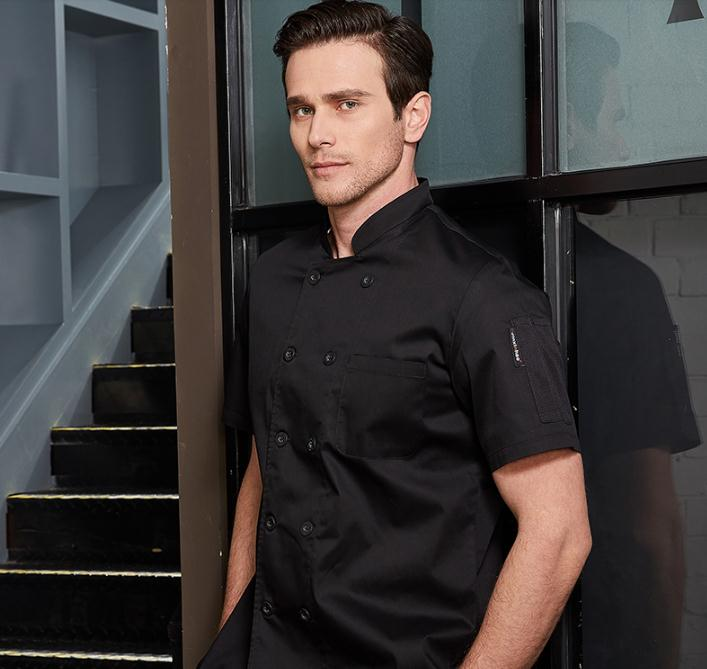 3 Colors Men Bakery Cook Uniform Short Sleeved New Restaurant Chef Uniforms Work Wear Kitchen Cook Clothes Breathable At Back