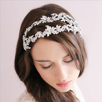 SLBRIDAL Western Styles Two Rows Silver Clear Crystal Leaf Wedding Headband Bridal Tiara hair accessories Women Jewelry