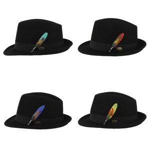 Image 2 - GEMVIE Men Women Trilby Feather Band Formal Fedora Hat Classical Curved Brim 100% Wool Jazz Hat Gentlemans Hat