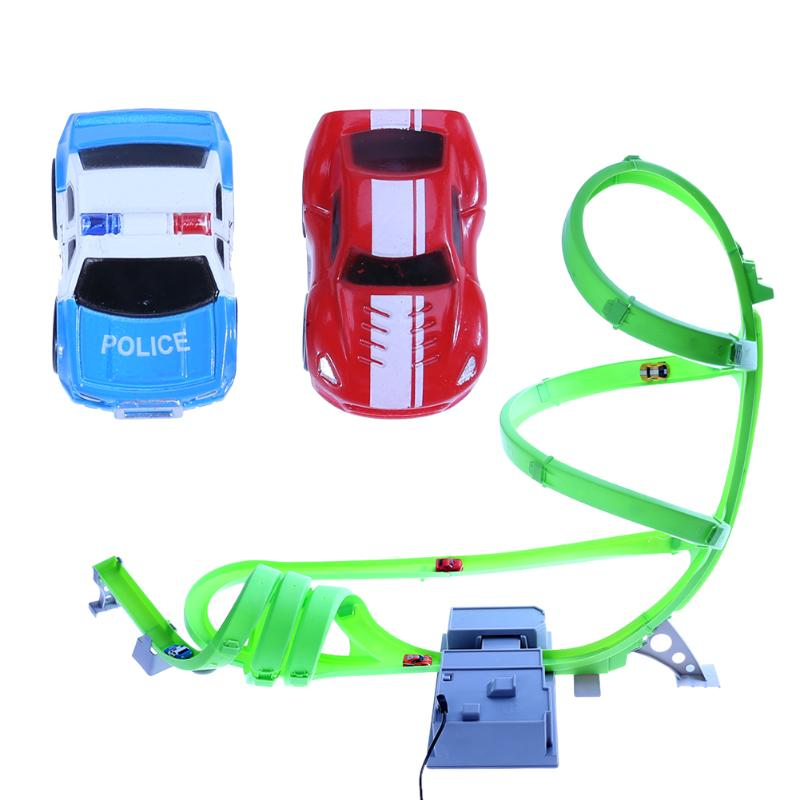 Miniatures Electric Track Car Toy Fun High Speed Racing Car Game Toy with Track Accelerator + Track for Children Boys Toy Gift
