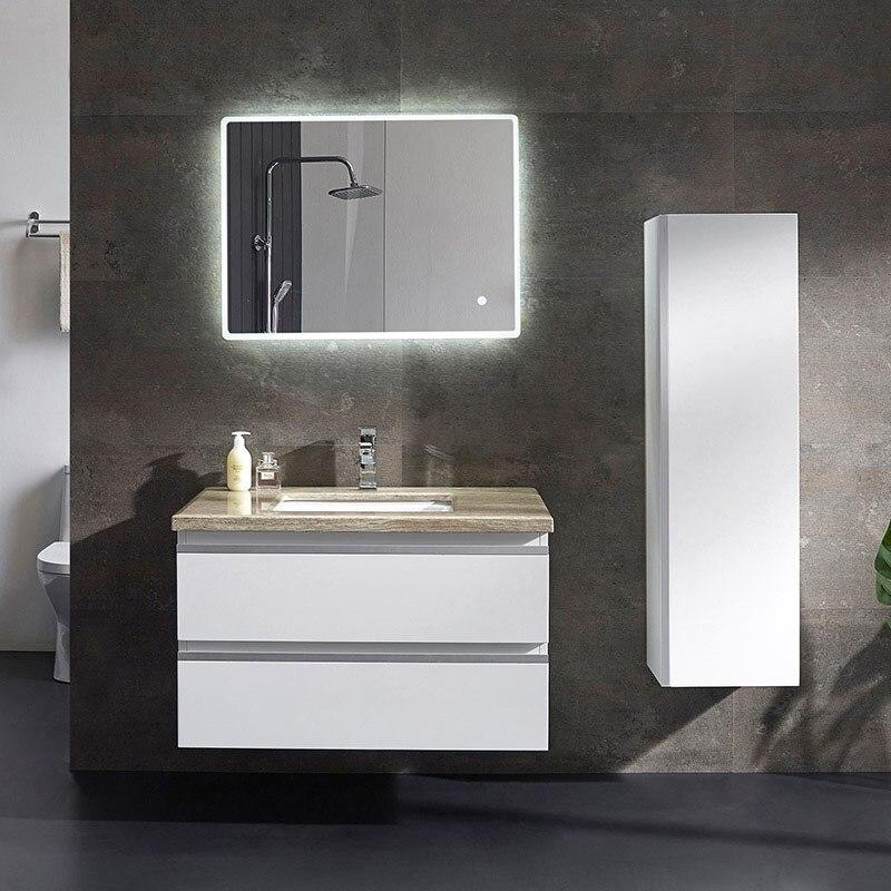 Aangepaste moderne witte badkamer vanity met 2 spiegels en lichten ...
