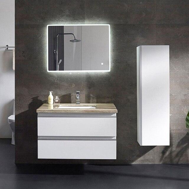 Personalizado moderno cuarto de baño blanco vanidad con 2 espejos y ...