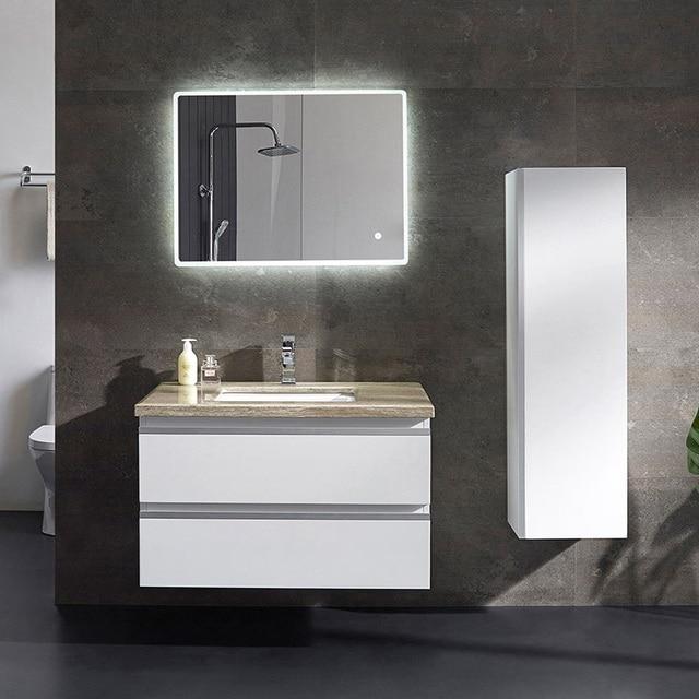 Tocador De Bano Blanco Moderno Personalizado Con 2 Espejos Y Luces - Espejos-modernos