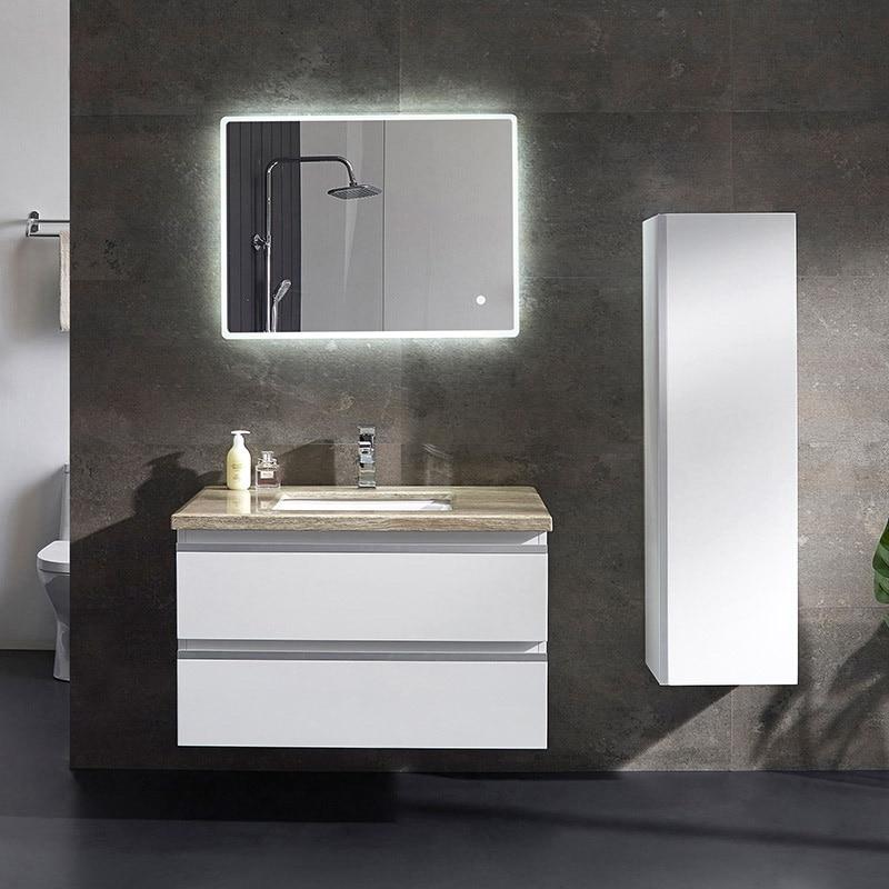 Customized Modern White Bathroom Vanity With 2 Mirrors And Lights Bathroom Vanity Bathroom Vanity Modernmodern Bathroom Vanities Aliexpress