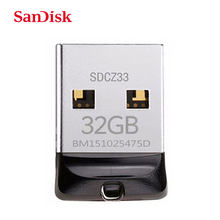 SanDisk Cruzer Fit CZ33 Super mini USB Flash Drive de 64 GB USB 2.0 sandisk pen drive de 32 GB memory stick Pen Drives 16 GB U disco(China)