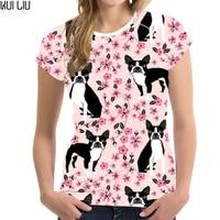 Customized Pink TShirt Women Boston Terrier Printing kpop T shirt Ladies O neck Floral Tops Females Kawaii Tee shirt for Girls