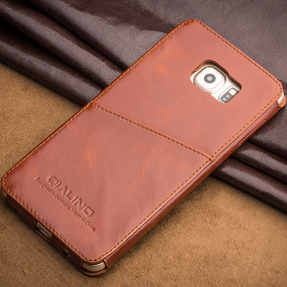 8b4cc35925c For Samsung Galaxy S6 edge Plus QIALINO Best Quality Genuine Leather Case  For Samsung S6 edge+ Plus inserted style in back cover
