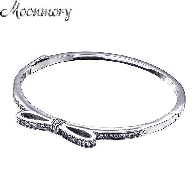 Moonmory Sparkling Bow Bangle S925 Sterling Silver Tie Shaped Bracelet With Clear Zircon For Woman