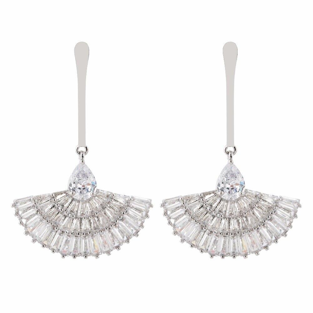 Luxury and luxury fan-shaped zircon earrings for women/girls.ER-219