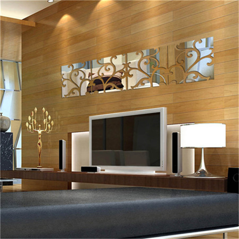 20*80cm 3D Acrylic Mirror Decal Mural Wall Sticker home living room glass wall sticking design panels vine style on sale ...