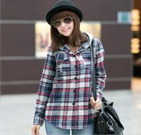 Hot Sprzedaż Kobiety Moda Pełna Rękaw Plaid Kieszenie Casual Lapel Przycisk W Dół Bluzka Koszula Z Długim Rękawem z kapturem czerwony