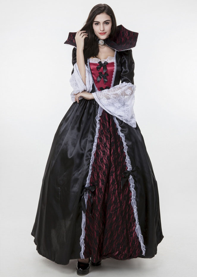3ece3d75c39 Black Red Maxi Dress with Petticoat+Gothic Collar Sexy Vampire Bride  Halloween Carnival Party Cosplay Costumes for Adult Women on Aliexpress.com
