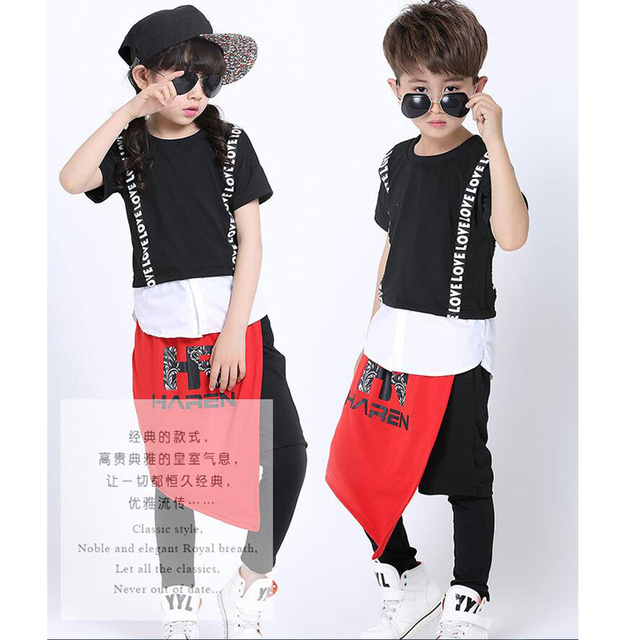ba5e0a2ed Boys Modern Jazz dancewear costume Tops+Pants Kids Black Party Stage ...