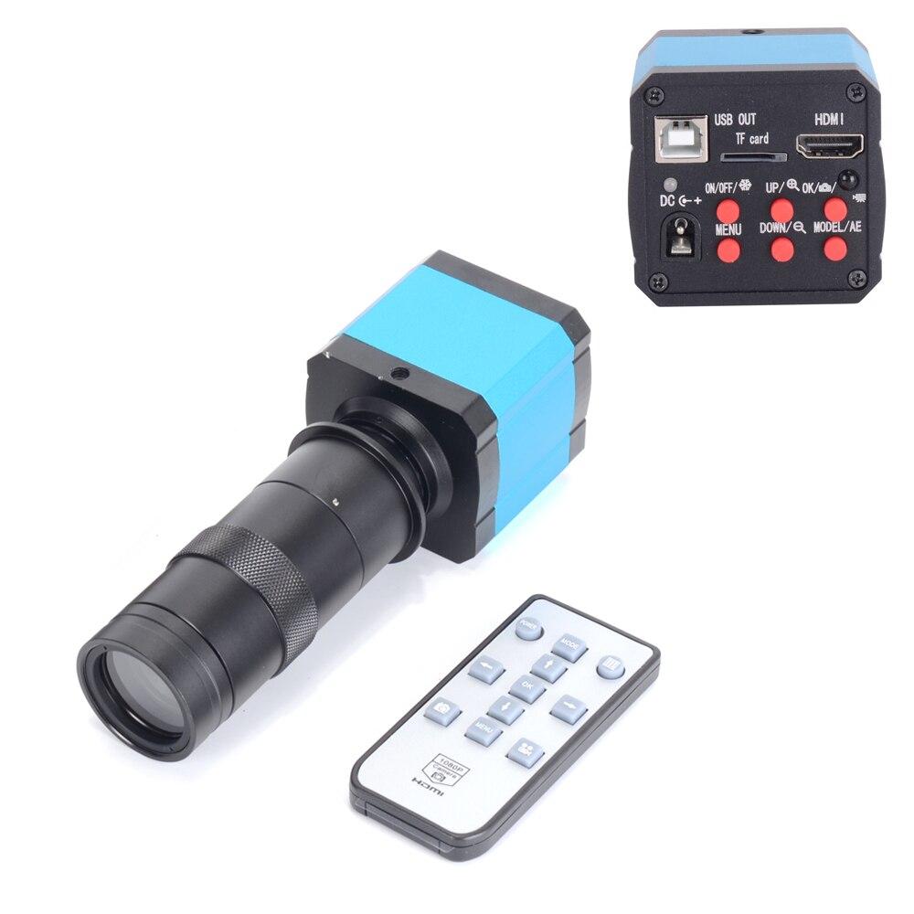 Caméra Microscope vidéo HD usb HDMI, 14MP, caméra HD industrielle, Zoom1080p, 60Hz, + objectif 100X à monture m pour la réparation des téléphones portables